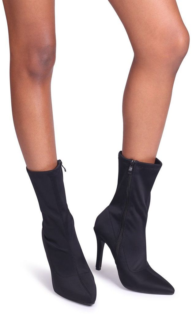 Bianca Black Lycra Sock Boot With Stiletto Heel by Linzi