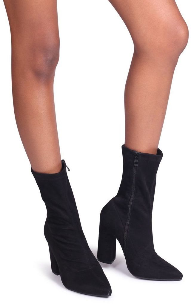 Alex Black Suede Sock Boot With Block Heel by Linzi