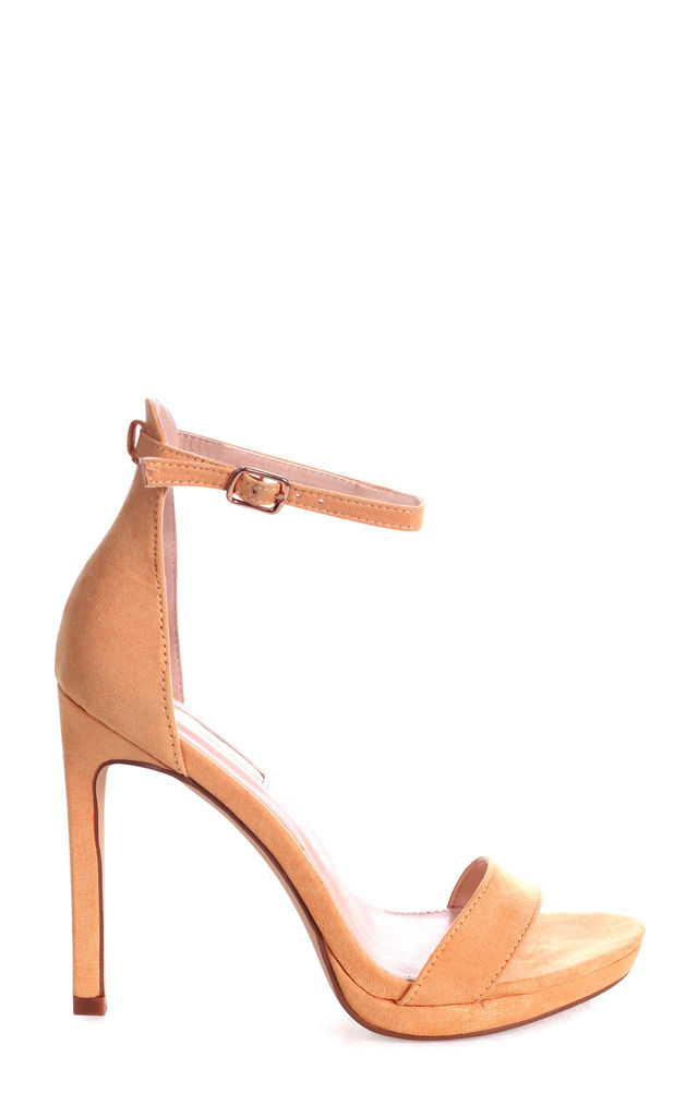 Gabriella Barely There Stiletto Heels in Yellow Suede by Linzi
