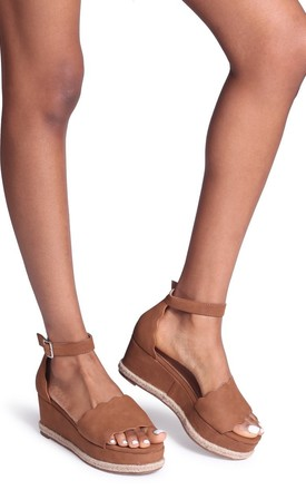 Lula Tan Suede Covered Flatform With Wavey Front Strap Detail & Roping by Linzi