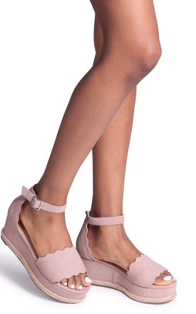 Lula Dusky Pink Suede Covered Flatform With Wavey Front Strap Detail & Roping by Linzi