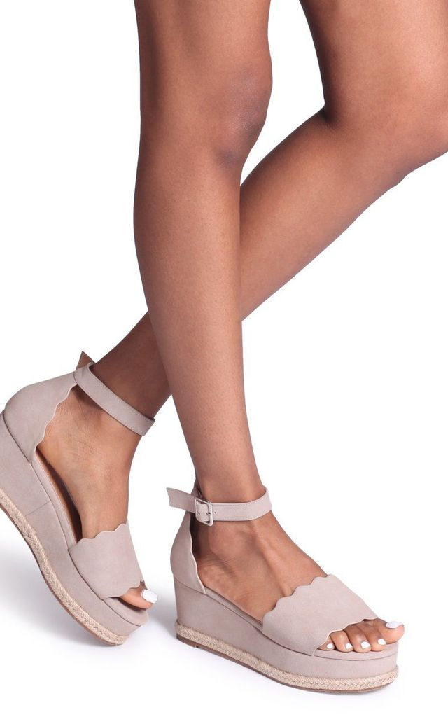 Lula Taupe Suede Covered Flatform With Wavey Front Strap Detail & Roping by Linzi