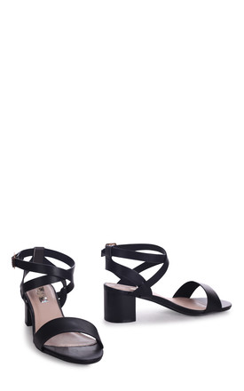Serena Black Nappa Stacked Block Heel Sandal With Crossover Ankle Straps by Linzi