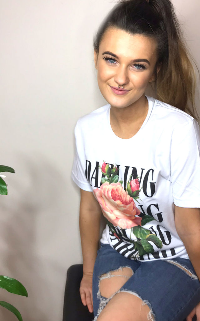 1c0c679c9 'Darling Rose' Graphic Floral T-shirt in White by Save The People. '