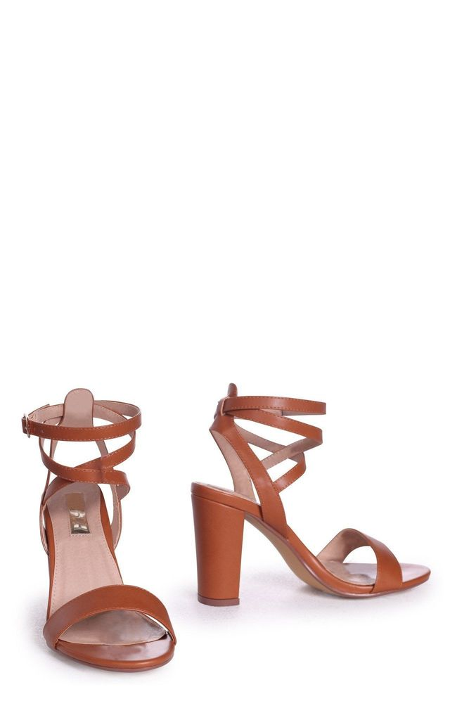 Danni Tan Nappa Block Heeled Sandal With Cross Over Ankle Strap by Linzi