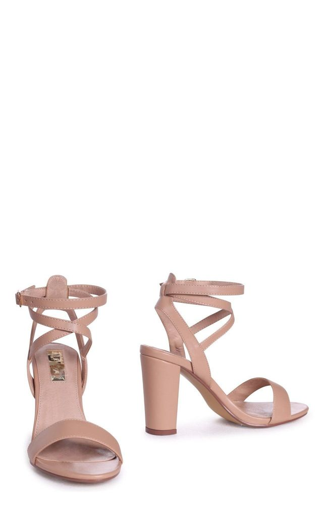 Danni Mocha Nappa Block Heeled Sandal With Cross Over Ankle Strap by Linzi
