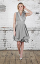 Grey Herringbone Trench Dress with Ruffle by Blonde And Wise