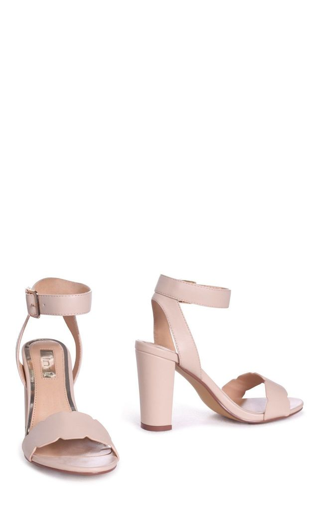 Darla Beige Nappa Open Toe Block Heel With Ankle Strap Wavey Front Strap Detail by Linzi