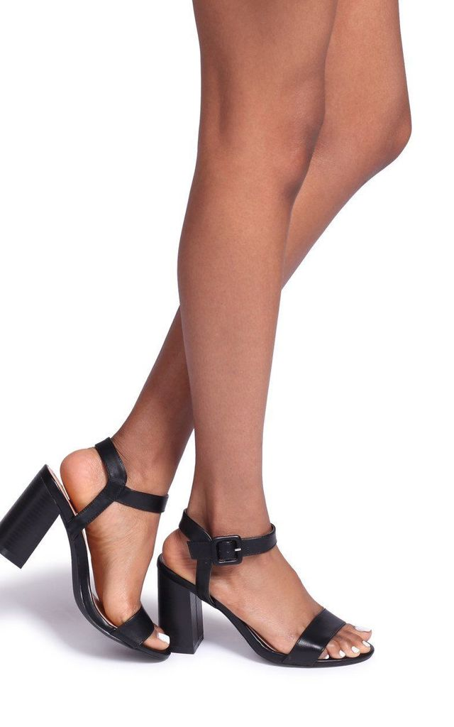 Kate Black Nappa Open Toe Stacked Block Heel With Ankle Strap by Linzi