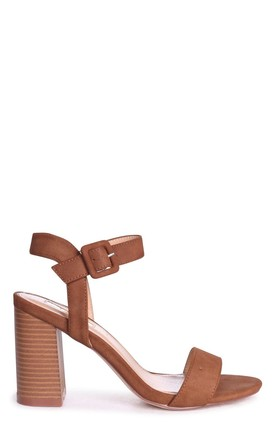 Kate Tan Suede Open Toe Stacked Block Heel With Ankle Strap by Linzi