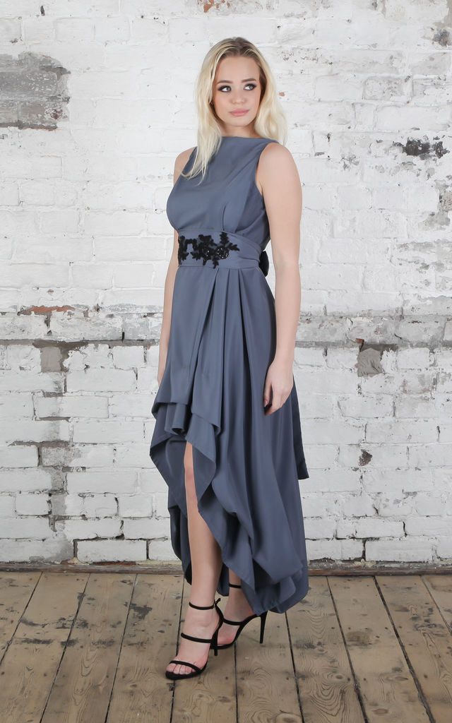 Gunmetal Wendy Dress with Black Appliqué Belt by Blonde And Wise