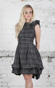 Mia Sleeveless Dress in Grey Tartan by Blonde And Wise