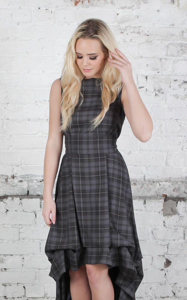 Grey Tartan Wendy Dress by Blonde And Wise