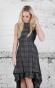 Wendy High Low Dress in Grey Tartan by Blonde And Wise