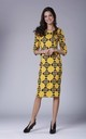 Pencil Dress with 3/4 Sleeves and U Neck in Yellow Geometric Print by Bergamo