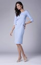 Pencil Dress with 3/4 Sleeves and U Neck in Light Blue by Bergamo