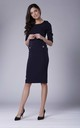 Pencil Dress with 3/4 Sleeves and U Neck in Navy Blue by Bergamo