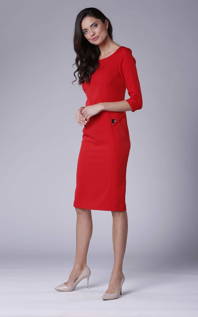 Pencil Dress with 3/4 Sleeves and U Neck in Red by Bergamo