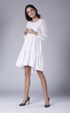 White Long Sleeved Loose Midi Dress by Bergamo