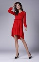 Red Long Sleeved Loose Midi Dress by Bergamo