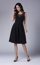 Black Sleeveless Flared Elegant Midi Dress by Bergamo