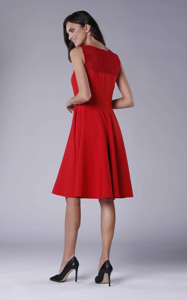 Red Sleeveless Flared Elegant Midi Dress by Bergamo