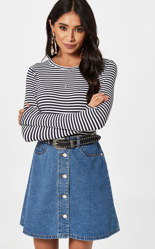 Medium Blue Denim Button Front Skirt by Noisy May