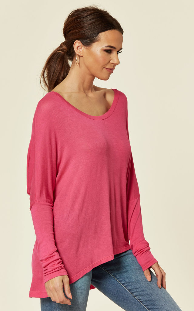 LUCIA - Plain Hilow Hot Pink Long Sleeve by Blue Vanilla
