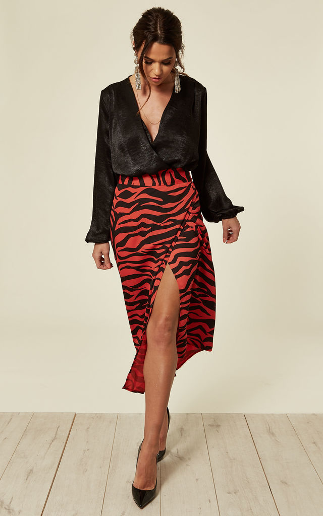 ZEBRA PRINT WRAP SKIRT by FLOUNCE LONDON