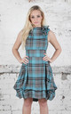 Mia Sleeveless Dress in Turquoise/Grey Tartan by Blonde And Wise