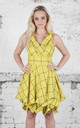 Sleeveless Trench Dress in Yellow Barclay Check by Blonde And Wise