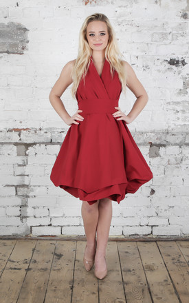 Deep Red Trench Dress by Blonde And Wise