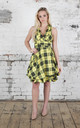 Sleeveless Trench Dress in Yellow Macleod Tartan by Blonde And Wise