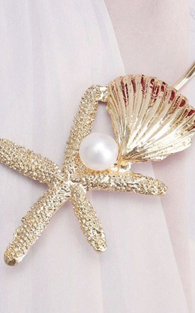 Skye Shell Summer Starfish and Pearl Hair Clip Slide Barrette in Gold by Ajouter Store