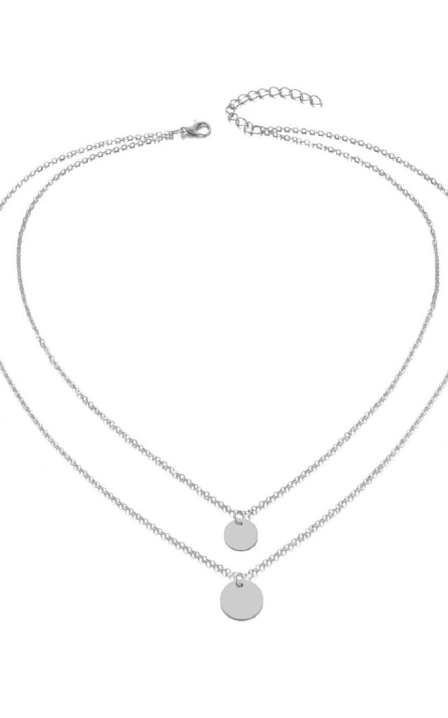 Silver Double Circle Layer Necklace by HAUS OF DECK