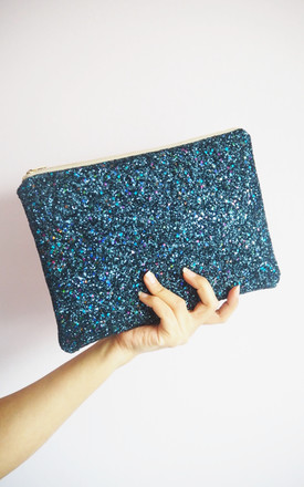 Glitter Clutch Bag In Navy Rainbow by Suki Sabur Designs Product photo
