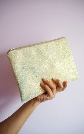 Glitter Clutch Bag in Pastel Yellow for Spring Wedding by Suki Sabur Designs