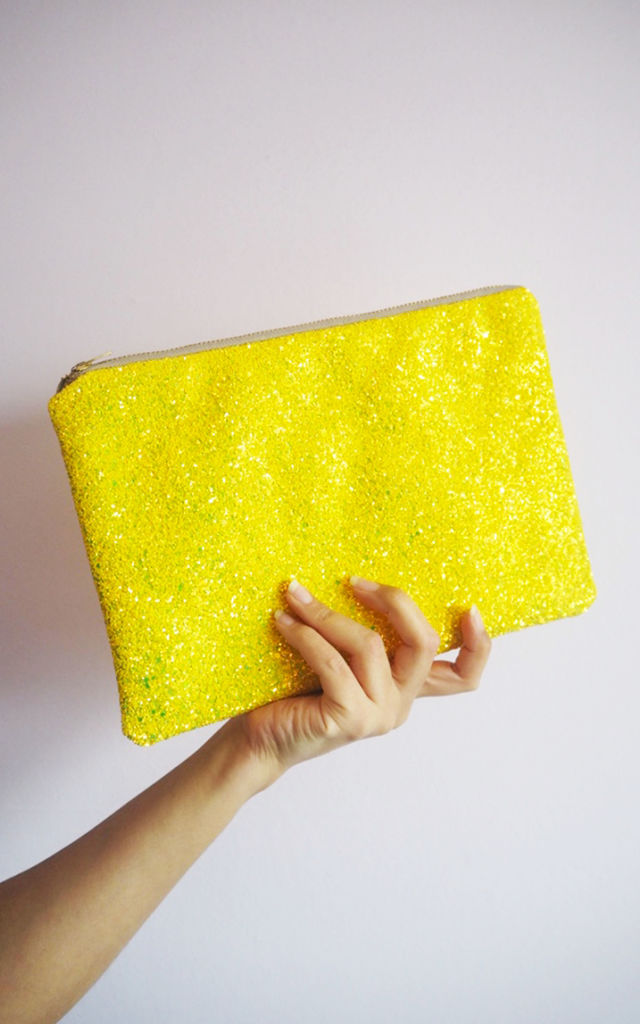 Glitter Clutch Bag in Lemon Yellow by Suki Sabur Designs