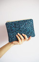Glitter Mini Clutch Bag in Navy Rainbow by Suki Sabur Designs