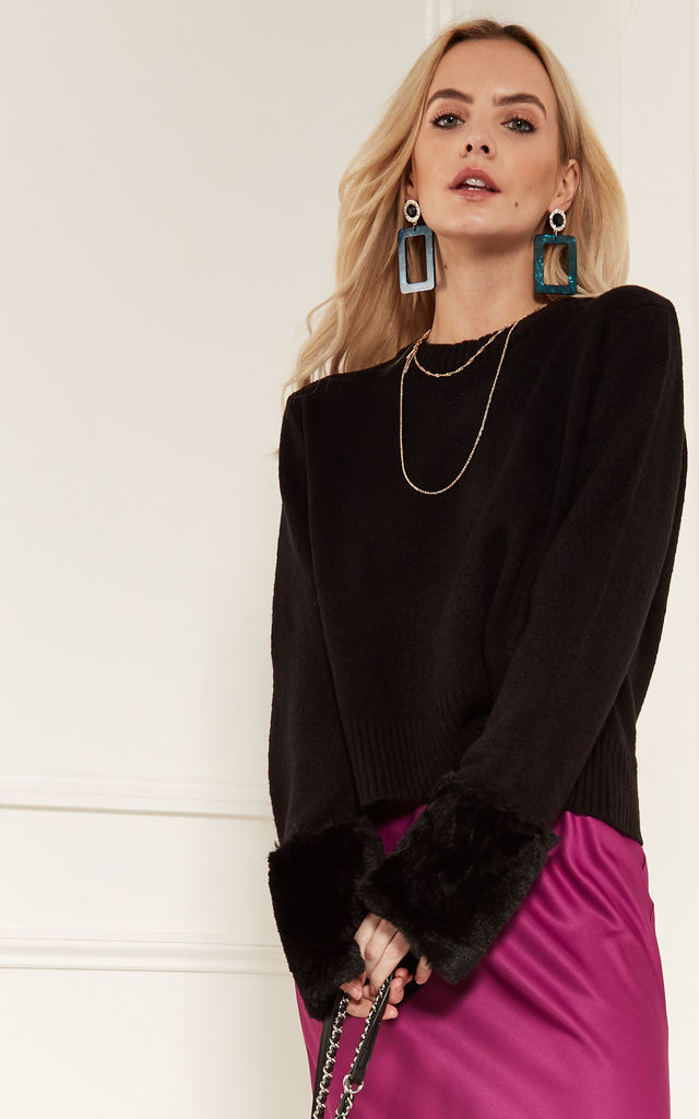 Black Cropped Knit With Faux Fur Cuff Detail by Bella and Blue