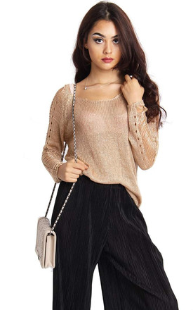 Camel Knitted Soft Cut Out Jumper by Urban Mist