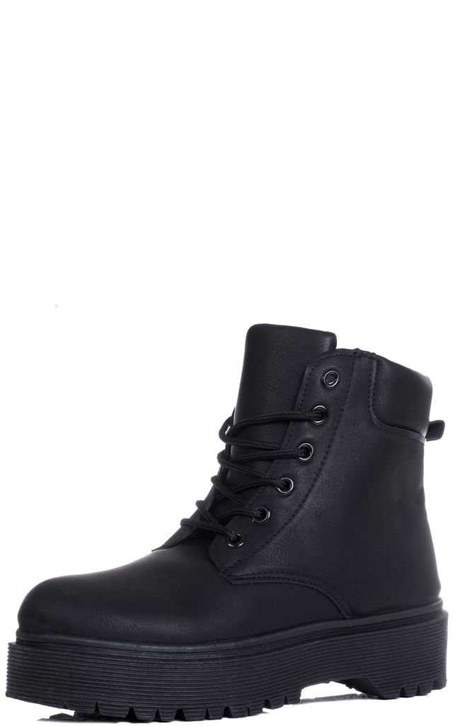 MORGAN Lace Up Cleated Sole Flat Combat Worker Walking Ankle Boots Shoes - Black Leather Style by SpyLoveBuy