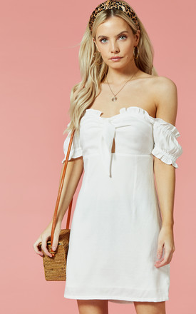 White Off The Shoulder Puff Sleeve Mini Dress by Glamorous Product photo