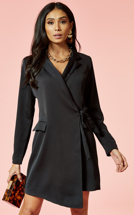 6da7f1b9e2787 Black Wrap Front Blazer Style Mini Dress