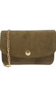 IT BAG WITH GOLD CHAIN in ARMY GREEN SUEDE by THE CODE HANDBAGS