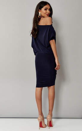 Navy Batwing Off The Shoulder Dress by Pleat Boutique