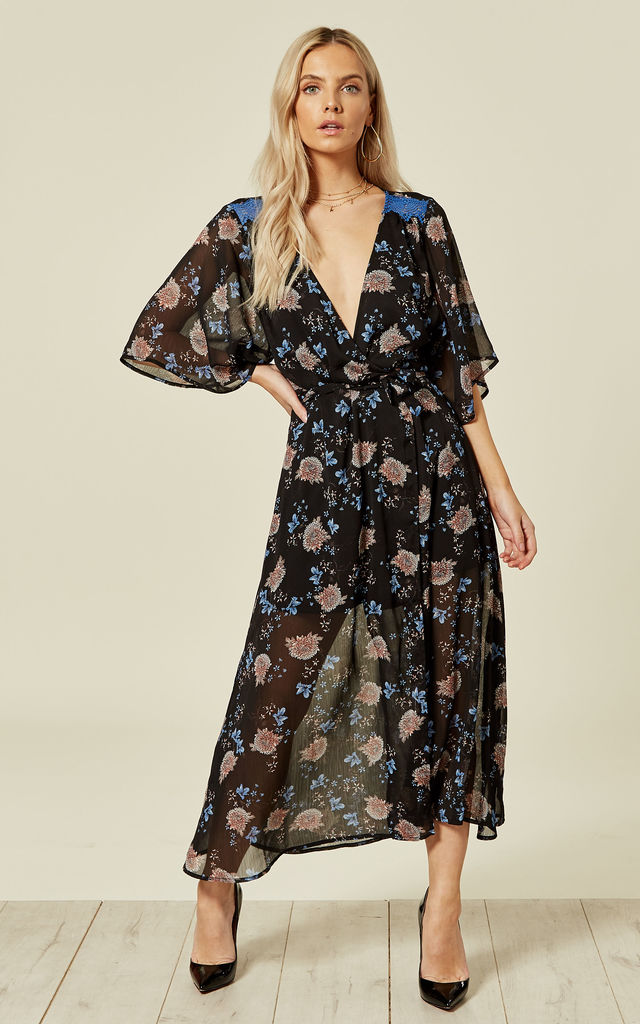 2b78b2b55a54c Long Midi Wrap Dress with Blue Lace in Black Floral Print by Liquorish