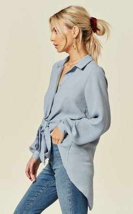 Eden Tie Front Shirt with Buttons in Light Blue by Love