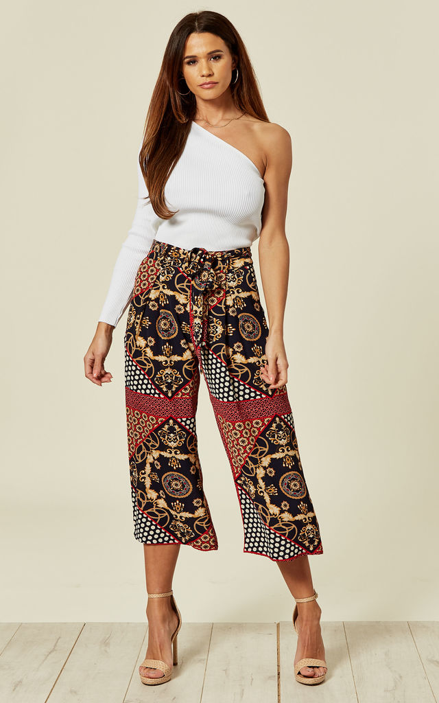 Red Scarf Print Culotte Pants by MISSI LONDON