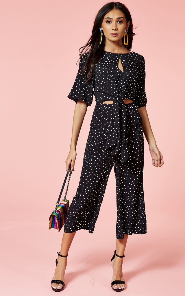 Black With White Polkadot Culotte Jumpsuit by Glamorous